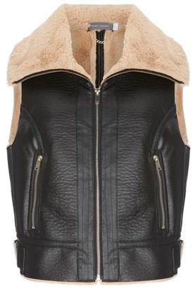 Mint Velvet Chocolate Faux Fur Gilet