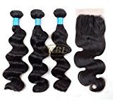 "KBL 5A Brazilian Virgin Hair Loose Wave 3 Bundles with Top Lace Closure Three Way Part 4x4 150% Density Remy Human Hair Extensions Natural Black #1B (3x16"" hair weft+10"" lace closure)"