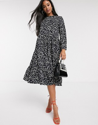 NEVER FULLY DRESSED trapeze midi dress in mono polka print