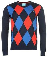 Slazenger Mens Argyle V Neck Golf Jumper Sweater Pullover Long Sleeve Cotton