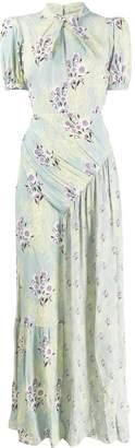 Self-Portrait floral print ruched detail maxi dress