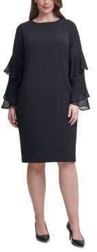 Calvin Klein Size Crepe Chiffon-Sleeve Sheath Dress