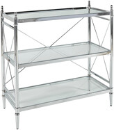 Linon Pinnacle Chrome And Glass Floor Console