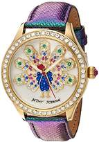 Betsey Johnson Women's Quartz Stainless Steel and Leather Casual Watch, Color:Purple (Model: BJ00517-47)