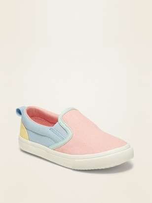 Old Navy Color-Blocked Canvas Slip-Ons for Toddler Girls