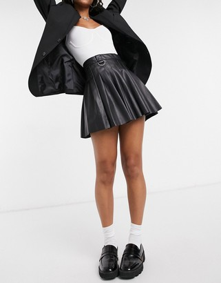 Bershka faux-leather pleated mini tennis skirt in black