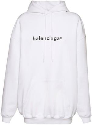 Balenciaga Oversize Logo Print Cotton Hoodie