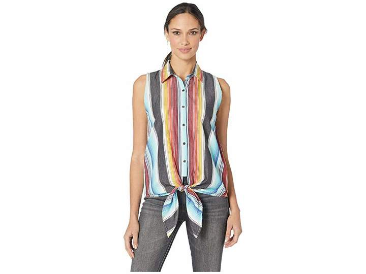 Rock and Roll Cowgirl Sleeveless Striped Button Down B5B9105