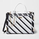 River Island Womens Black mono stripe cross body tote bag
