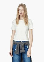 Mango Outlet Flecked Cotton-Blend T-Shirt