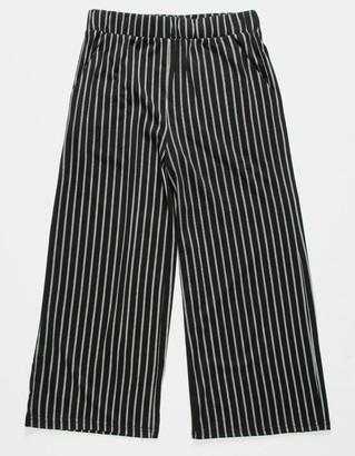 Full Tilt Stripe Crop Black & White Girls Palazzo Pants