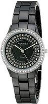 Akribos XXIV Women's AK509BK Ceramic Slim Quartz Black Bracelet Watch