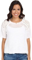 Rebecca Taylor Women's Patchwork Texture and Lace Sweater