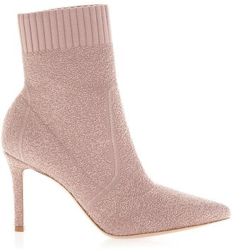 Gianvito Rossi Fiona Pink Stretch Knit Ankle Boots