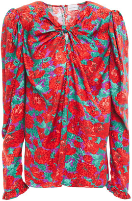 Magda Butrym Ruffle-trimmed Floral-print Silk-satin Jacquard Blouse