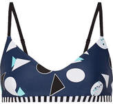 The Upside Match Point Ballet Printed Stretch Sports Bra - Storm blue