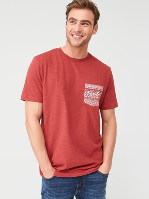 Very Man Printed Geo Pocket T-Shirt - Red