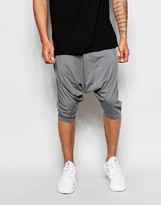 Asos Extreme Drop Crotch Shorts In Super Lightweight Fabric - Grey
