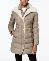 Kenneth Cole Faux-Fur-Trim Layered Down Coat