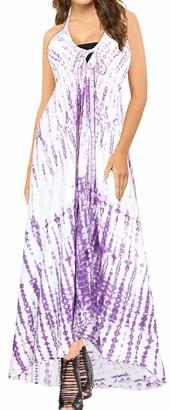 LA LEELA Everyday Essentials Women's Hand Tie Dye Beach Dress Vintage Casual Maxi Evening Loungewear Short Sleeve Caftan Tunic Cover up One Size Large Cruise wear Scary Purple_K800