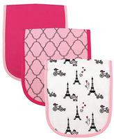 Luvable Friends Pink & White Paris Burp Cloth Set