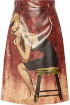 Prada Printed Coated-cotton Midi Skirt - Claret