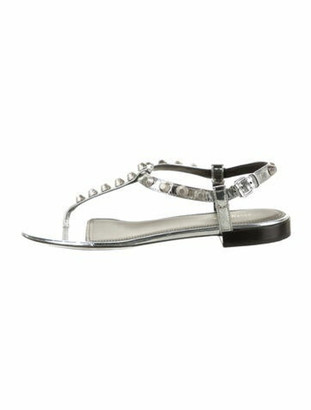Balenciaga Leather Studded Accents T-Strap Sandals Silver