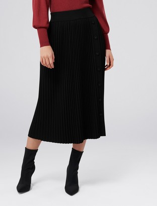 Forever New Molly Pleated Button Knit Skirt - Black - l