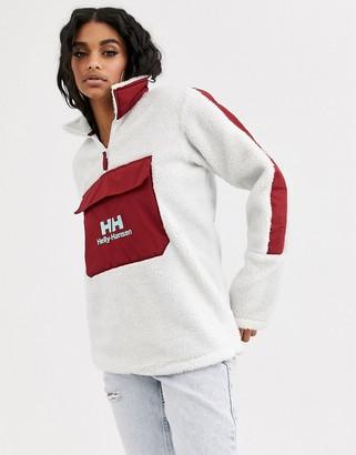 Helly Hansen Yu 1/2 zip borg fleece in white/burgundy with logo