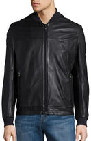 BOSS GREEN Textured Leather Bomber Jacket