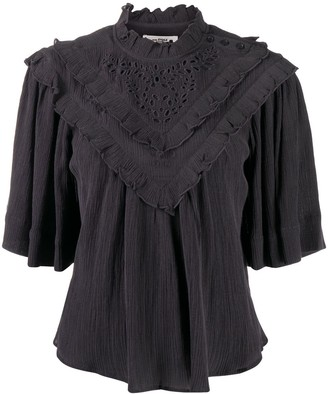 Etoile Isabel Marant Ruffle Detail T-Shirt With Broderie Anglaise