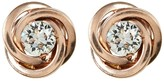 Candela 14K Rose Gold Love Knot Stud Earrings Accented with Swarovski CZ Elements