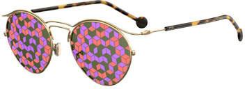 Christian Dior DiorOrigins1 Round Geometric Sunglasses, Brown Tortoise