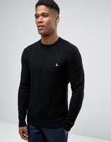 Jack Wills Merino Jumper In Cable Black