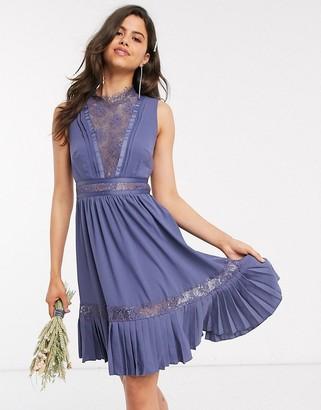 Little Mistress lace-trim skater dress in lavender grey