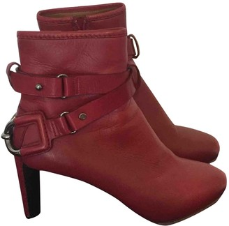 Celine Burgundy Leather Ankle boots