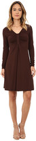 Mod-o-doc Cotton Modal Spandex Jersey Long Sleeve Front Shirred Dress