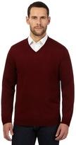 J By Jasper Conran Dark Red Merino Wool V Neck Jumper