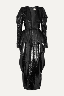 Alexandre Vauthier Draped Sequined Chiffon Gown - Black