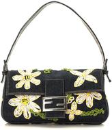 Fendi Pre-Owned Raffia Daisy Embroidered Baguette