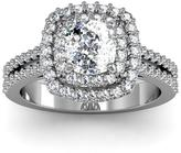 Ice 2 CT TW Diamond 14K White Gold Vintage Inspired Dual Halo Cushion Cut Engagement Ring