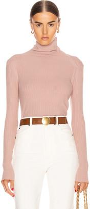 Enza Costa Brushed Rib Split Collar Long Sleeve Top in Plastic Pink | FWRD