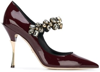 Dolce & Gabbana Mary Janes in varnish with jewel strap