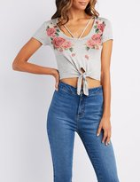 Charlotte Russe Caged Floral Graphic Crop Top