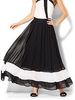 New York & Co. Chiffon-Overlay Maxi Skirt - Stripe