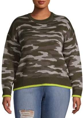 No Comment Juniors' Plus Size Neon Trim Crewneck Sweater