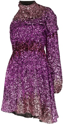 Halpern One-Shoulder Sequin Mini Dress