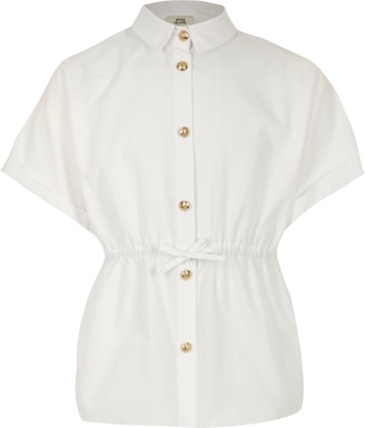 River Island Girls White cinched waist poplin shirt
