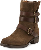 Alberto Fermani Triumvirate Suede Moto Boot, Bosco