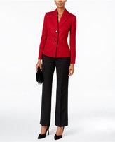 Le Suit Contrast Tweed Two-Button Pantsuit